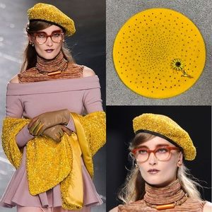 Vintage 80s Yellow Gold Sequined Wool Basque Beret